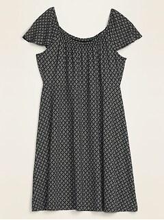 Waist-Defined Ruffle-Neck Jersey Plus-Size Dress