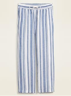 Mid-Rise Striped Linen-Blend Wide-Leg Pants for Women