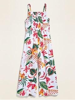 Floral-Print Smocked Crinkle-Crepe Jumpsuit for Girls