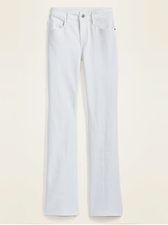 Mid-Rise White Kicker Boot-Cut Jeans for Women