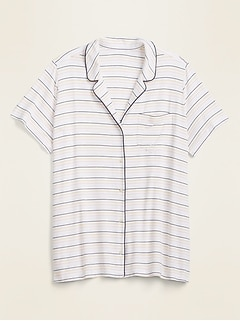 Jersey Button-Front Plus-Size Pajama Top