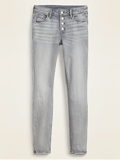 Mid-Rise Button-Fly Rockstar Super Skinny Gray Jeans for Women