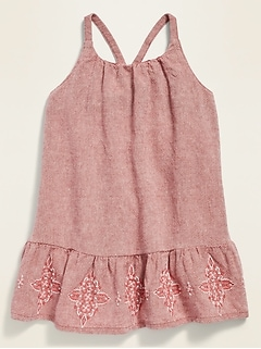 Sleeveless Linen-Blend Embroidered-Hem Swing Dress for Baby