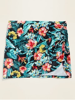 High-Waisted Floral Secret-Slim Side-Tie Plus-Size Swim Skirt