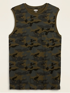 Soft-Washed Chest-Pocket Camo Muscle Shirt for Men