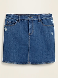 High-Waisted Distressed Jean Skirt for Women