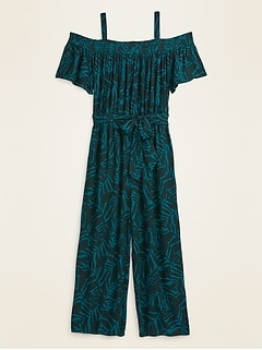 Off-the-Shoulder Crinkle-Crepe Plus-Size Tie-Belt Jumpsuit