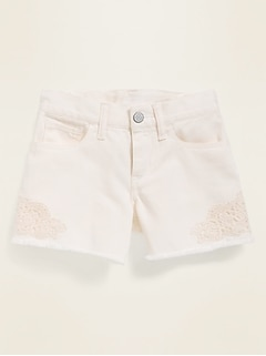 Lace-Trim Cut-Off Jean Shorts for Girls