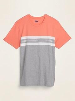 Soft-Washed Color-Block Center-Stripe Tee for Men