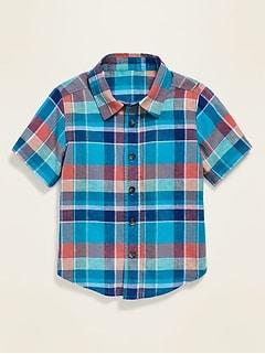 Plaid Linen-Blend Shirt for Toddler Boys