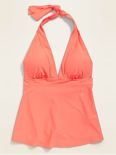 Peplum-Hem Halter Tankini Swim Top for Women