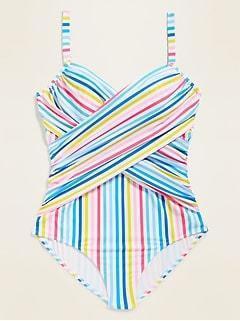 Multi-Stripe Wrap-Front Secret-Slim Underwire Plus-Size One-Piece Swimsuit