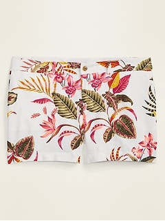 Mid-Rise Printed Linen-Blend Everyday Plus-Size Shorts -- 5-inch inseam