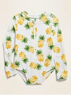 Zip-Front Long-Sleeve Rashguard Swimsuit for Toddler Girls