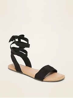 Faux-Suede Ankle-Tie Sandals for Women