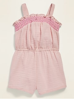 Sleeveless Smocked-Yoke Romper for Toddler Girls