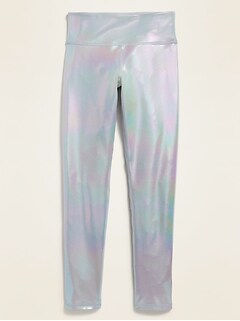 Mid-Rise Elevate Go-Dry Iridescent Leggings for Girls