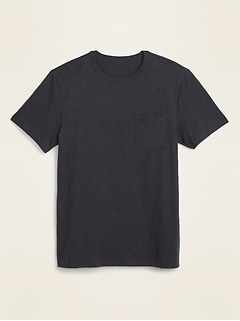 Soft-Washed Heavyweight Slub-Knit Pocket Tee for Men