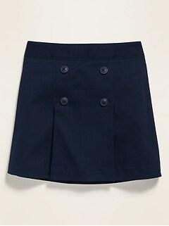 Jupe-culotte d'uniforme en sergé à pli pour fille