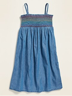 Sleeveless Smocked-Yoke Cami Dress for Girls