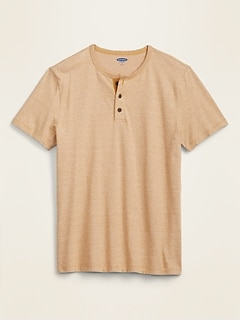 Soft-Washed Micro-Stripe Henley Tee for Men