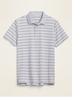 Luxe Dry-Quick Built-In Flex Striped Short-Sleeve Polo for Men
