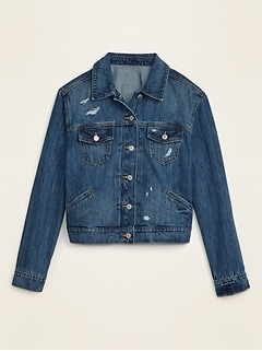 Distressed Plus-Size Cropped Jean Jacket