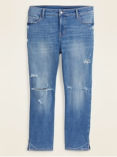 High-Waisted Secret-Slim Pockets Distressed Plus-Size Rockstar Super Skinny Cropped Jeans