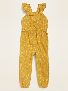 Linen-Blend Flutter-Sleeve Jumpsuit for Toddler Girls