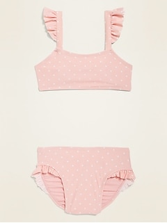Ruffle-Trim Bikini Set for Toddler Girls