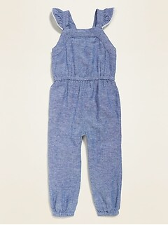 Linen-Blend Flutter-Sleeve Jumpsuit for Toddler Girls