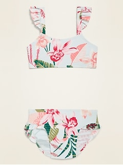 Ruffle-Trim Bikini Set for Toddler Girls