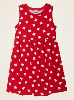 Flag-Print Fit & Flare Dress for Toddler Girls