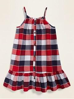 Robe-camisole imprimée boutonnée à l'avant pour toute-petite fille