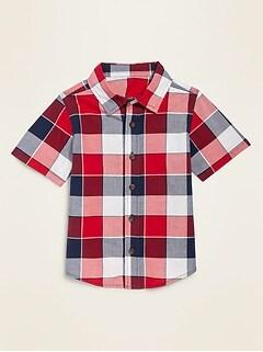 Plaid Poplin Short-Sleeve Shirt for Toddler Boys
