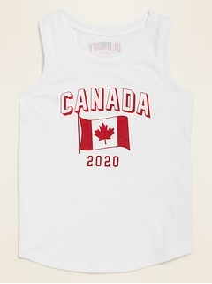 2020 Canada Flag Graphic Tank Top for Toddler Girls