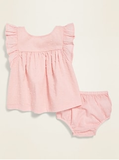 Ruffle-Trim Swiss Dot Top & Bloomers Set for Baby
