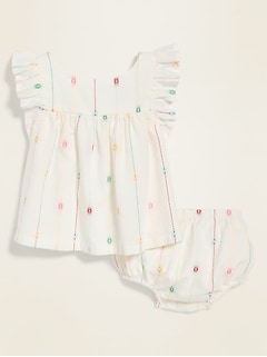 Ruffle-Trim Clip Dot Top & Bloomers Set for Baby