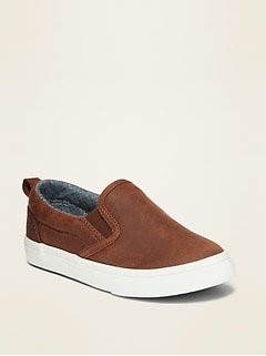 Faux-Leather Slip-Ons for Toddler Boys