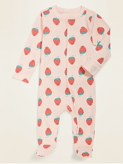 Printed Fold-Over Mitten Footed One-Piece for Baby