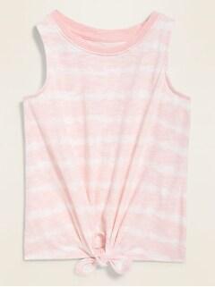 Printed Tie-Hem Sleeveless Tee for Toddler Girls