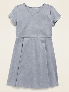 Uniform Short-Sleeve Ponte-Knit Dress for Girls