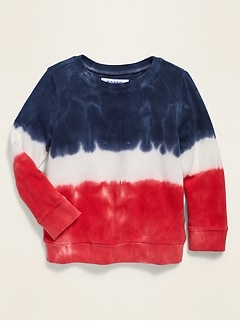 Americana Dip-Dye French Terry Sweatshirt for Toddler Girls