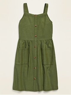 Sleeveless Button-Front Dress for Girls