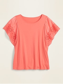 Eyelet Flutter-Sleeve Jersey-Knit Top for Women