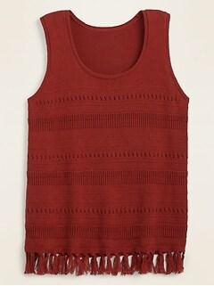 Sleeveless Fringed-Hem Sweater for Women
