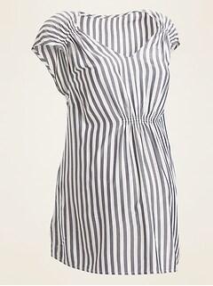 Maternity Vertical-Stripe V-Neck Top