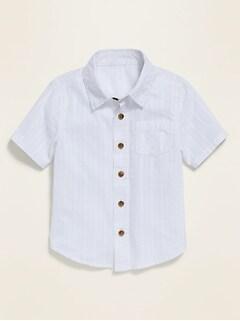 Textured Dobby Short-Sleeve Pocket Shirt for Toddler Boys
