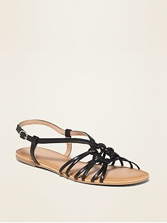 Faux-Leather Strappy Sandals for Women