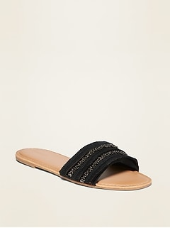Textured Slide Sandals for Women